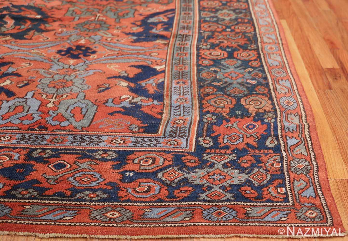 Antique 18th Century Turkish Smyrna Oushak Rug 47436 Side Corner Nazmiyal