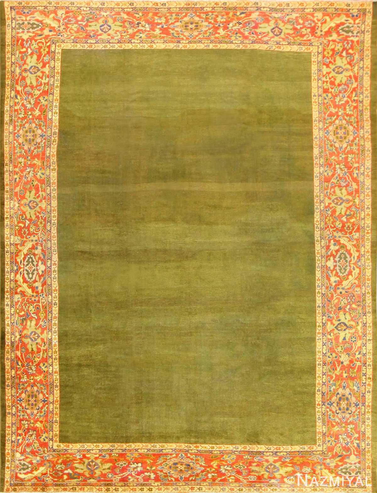 Antique Green Background Persian Sultanabad Rug 50335 Nazmiyal