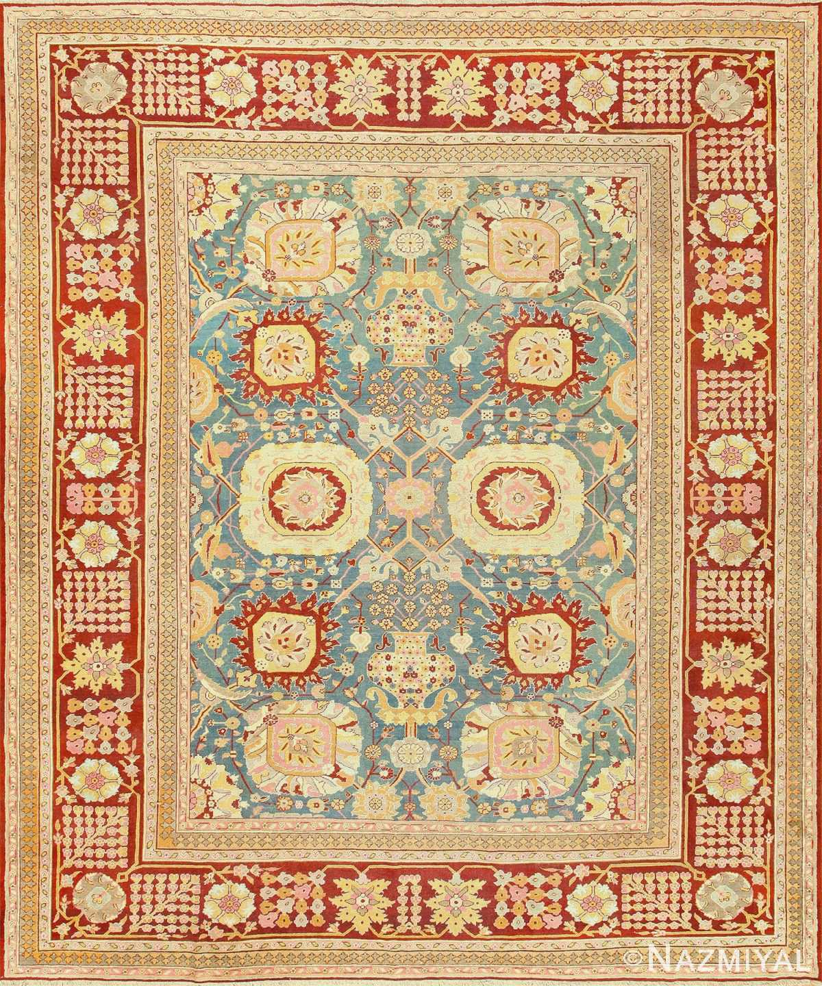 Light Blue Antique Indian Amritsar Carpet 48646 Nazmiyal
