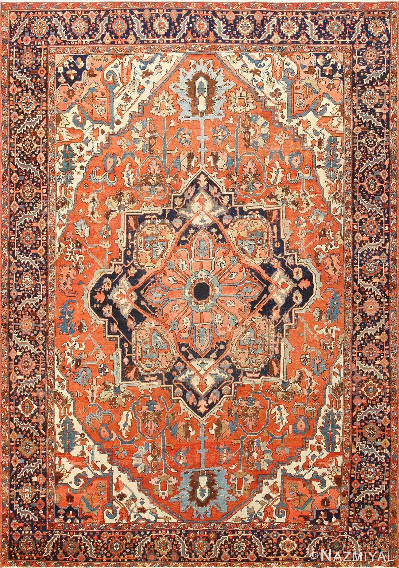 Antique Room Size Persian Heriz Serapi Rug 48320 Nazmiyal