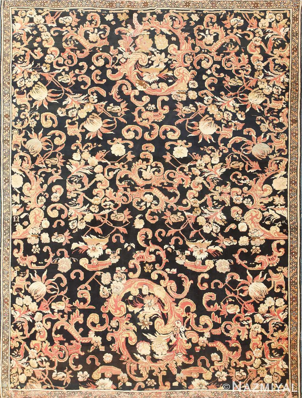 Beautiful Antique Black Background Caucasian Karabagh Rug 50366 Nazmiyal