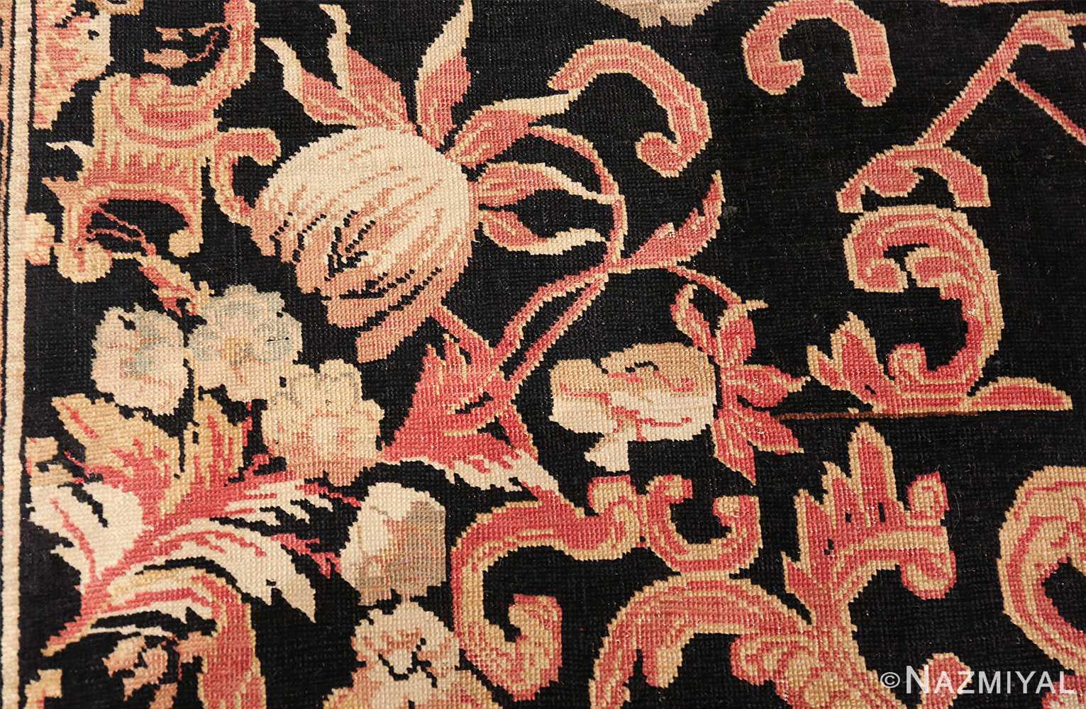 beautiful black background antique karabagh rug 50366 tulip Nazmiyal