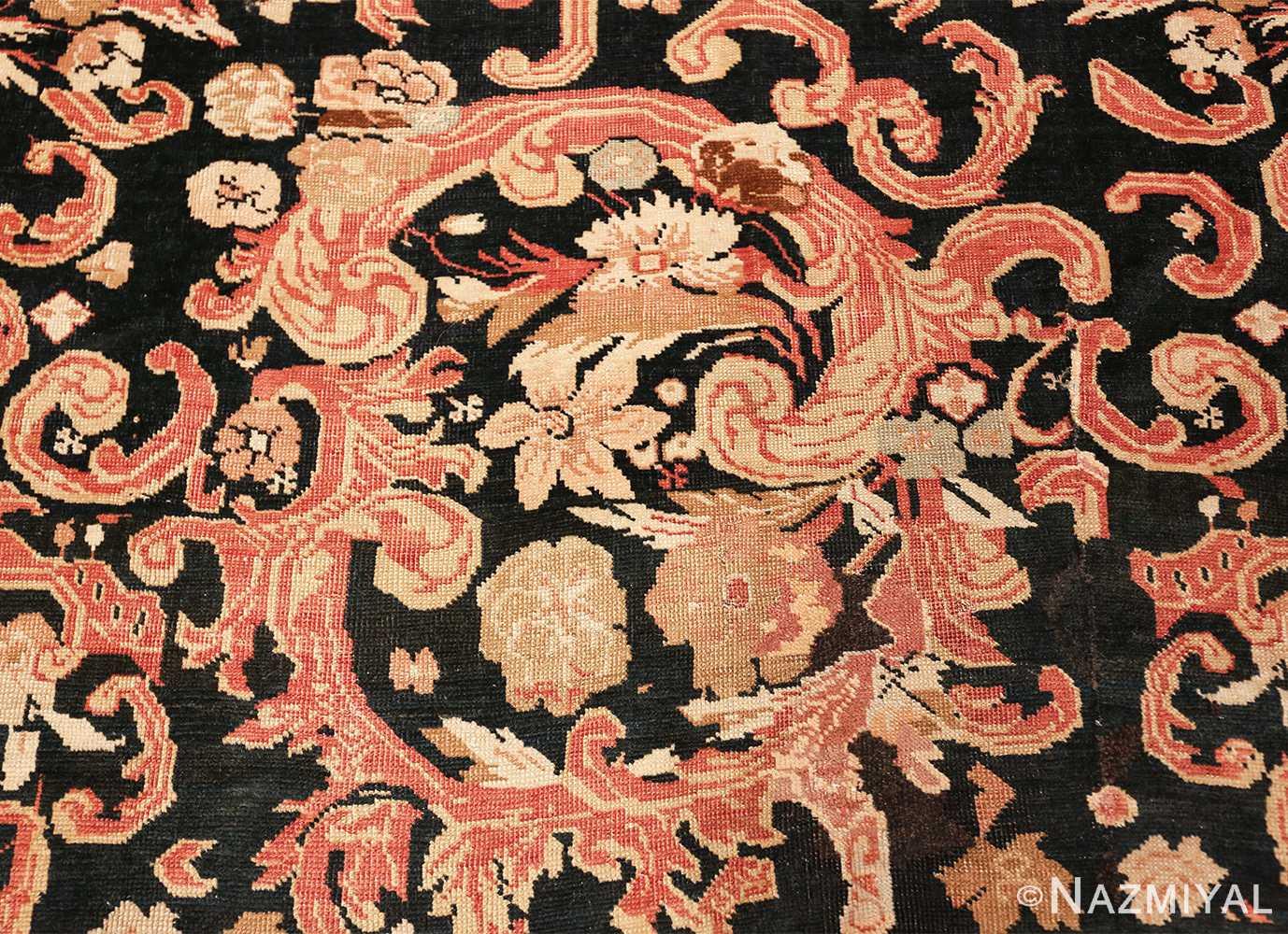 beautiful black background antique karabagh rug 50366 white Nazmiyal