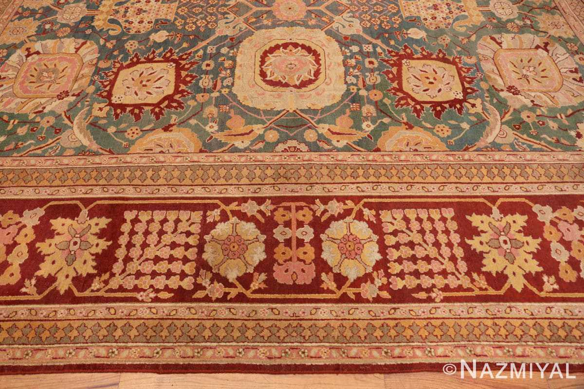 Border Light blue Antique Indian Agra carpet 48646 by Nazmiyal