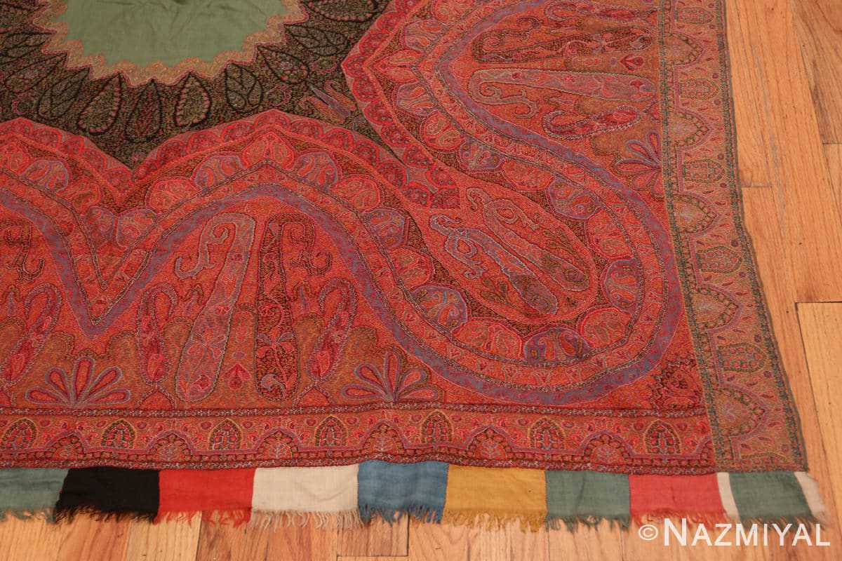 Corner fine antique Indian floral shawl 48612 by Nazmiyal