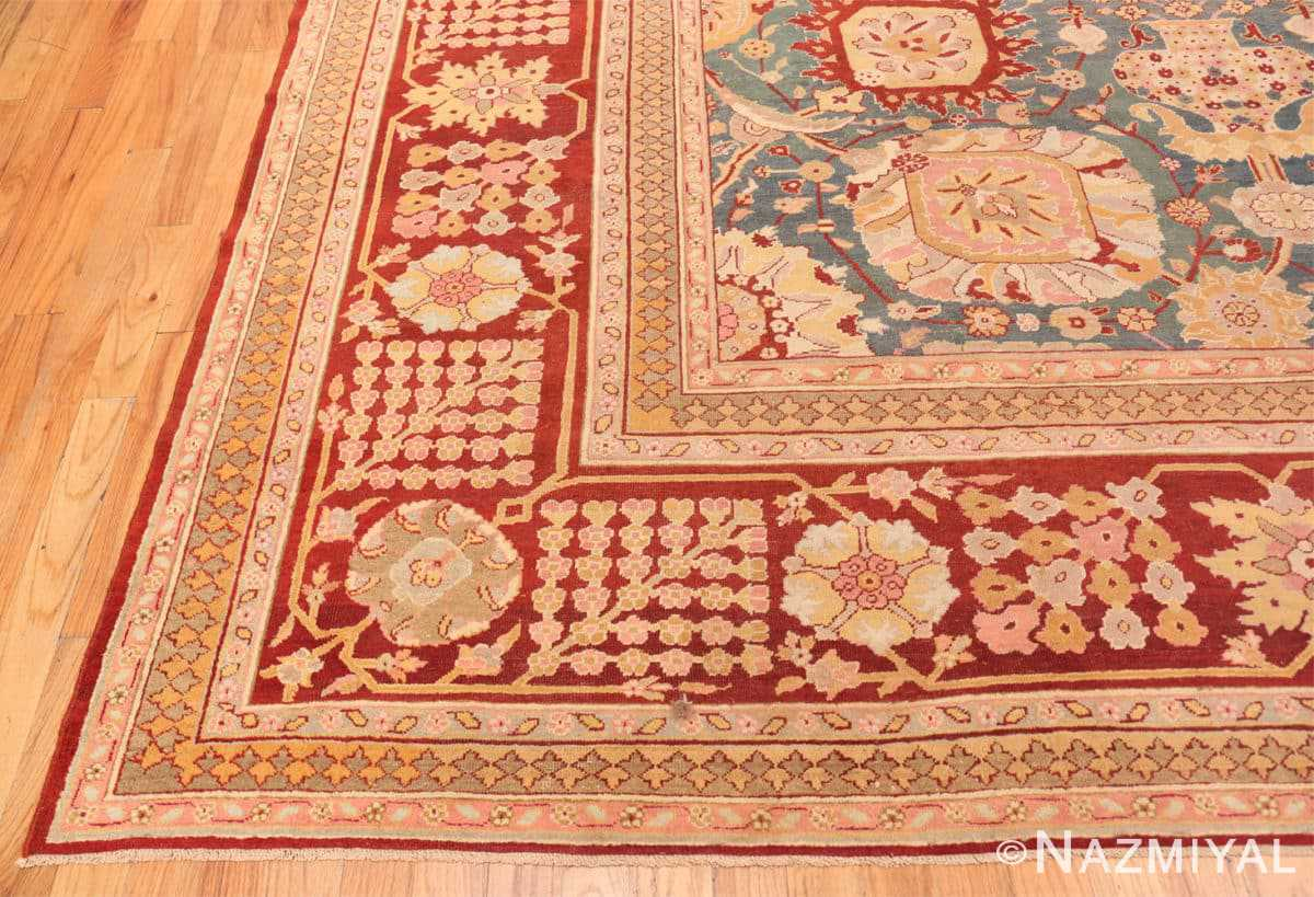 Corner Light blue Antique Indian Agra carpet 48646 by Nazmiyal