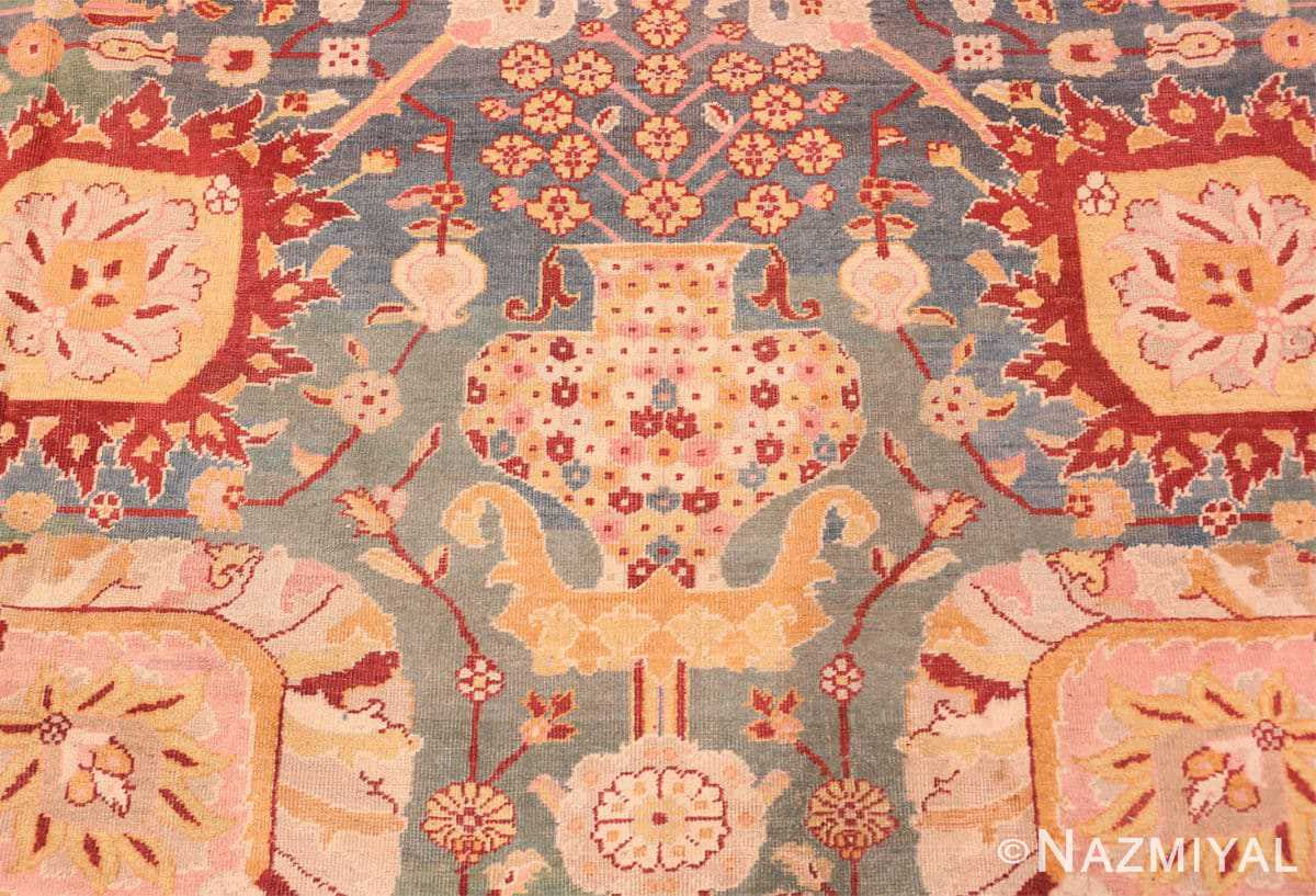 Detail Light blue Antique Indian Agra carpet 48646 by Nazmiyal