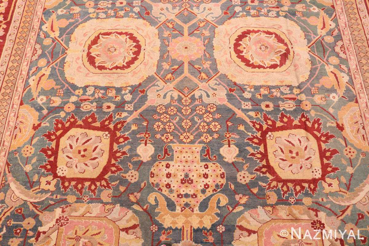Field Light blue Antique Indian Agra carpet 48646 by Nazmiyal