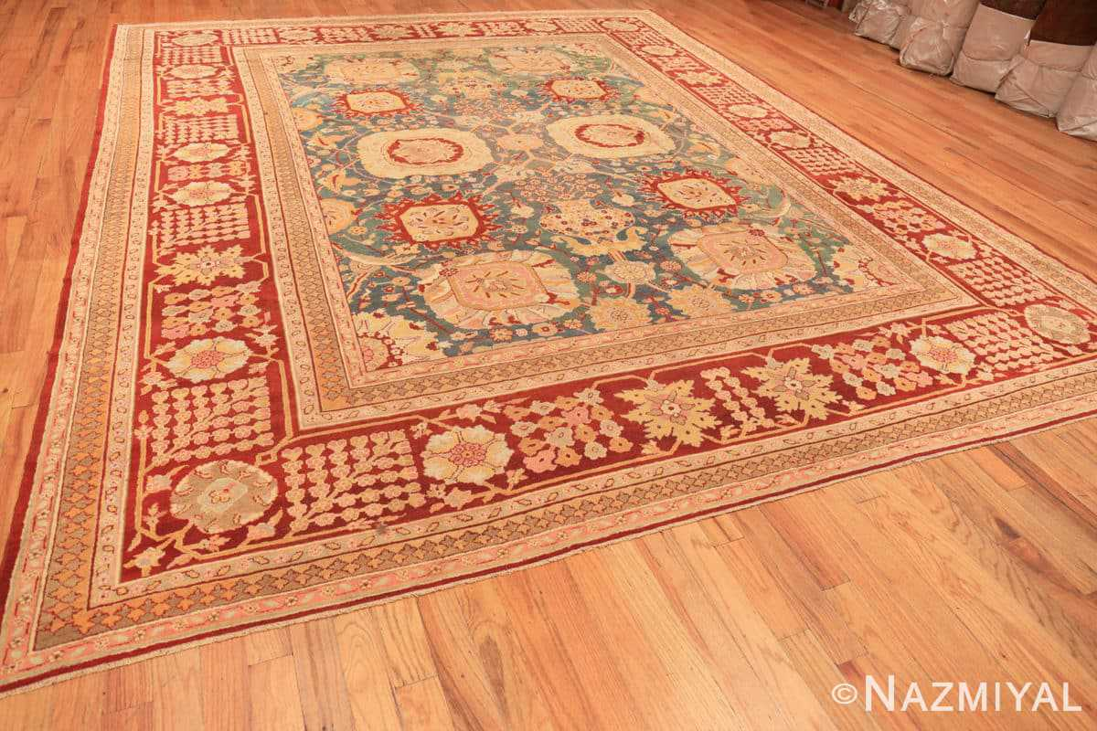 Full Light blue Antique Indian Agra carpet 48646 by Nazmiyal