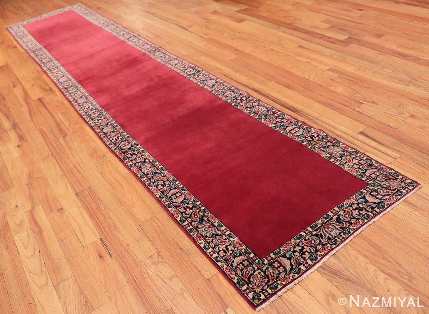 Vintage Red Color Persian Floral Kerman Runner Rug 50349