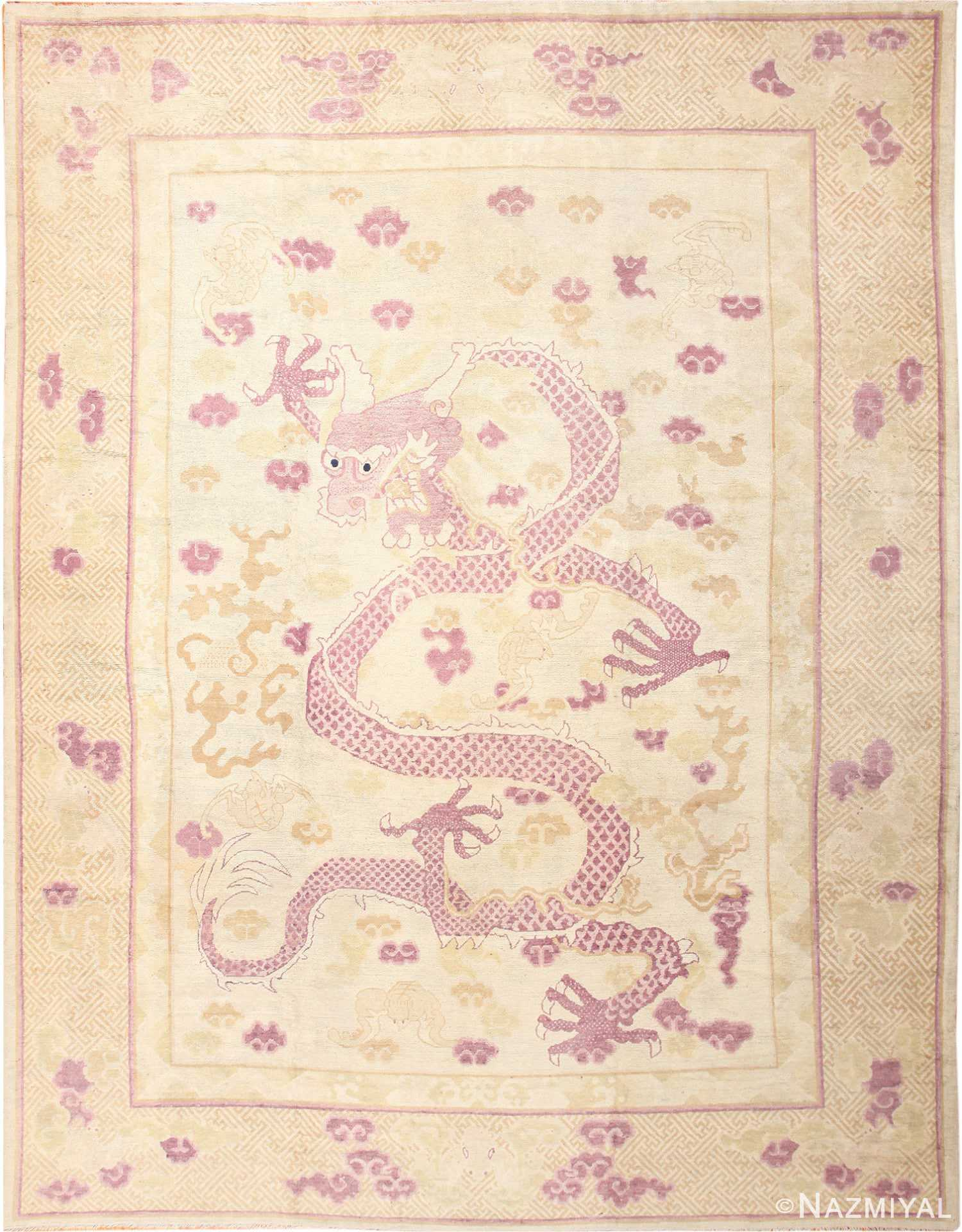 Funky Antique Purple Chinese Dragon Design Rug 50385