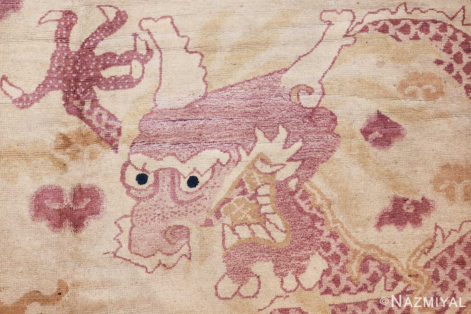 funky antique purple chinese dragon design rug 50385 head Nazmiyal