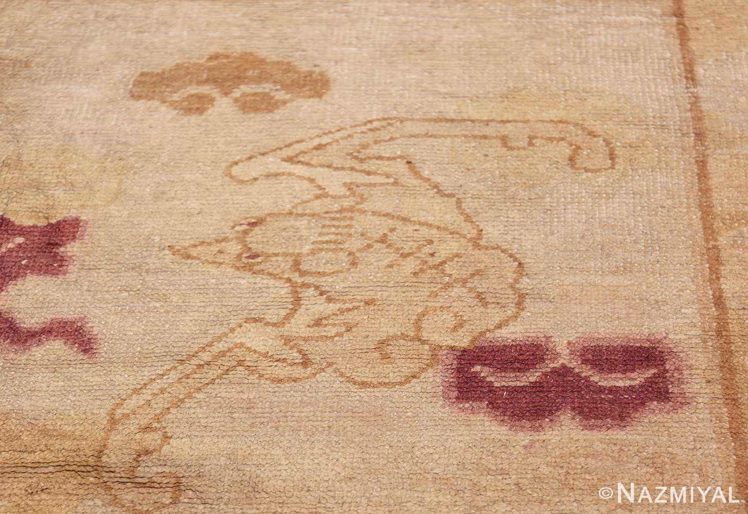 funky antique purple chinese dragon design rug 50385 side Nazmiyal