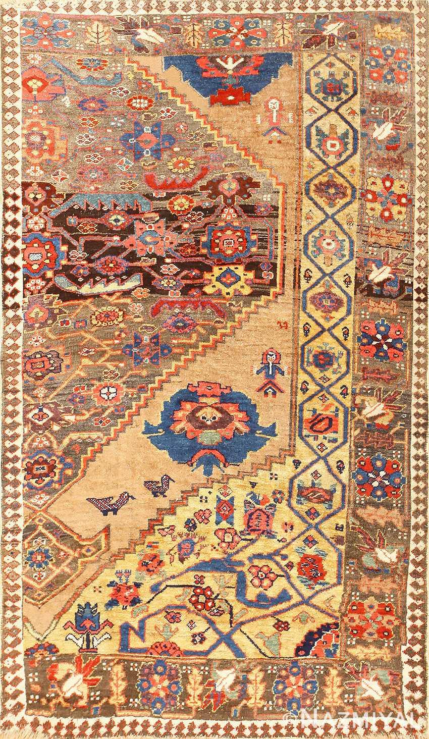 Rare Antique Tribal Persian Bidjar Sampler Rug 48628 Nazmiyal