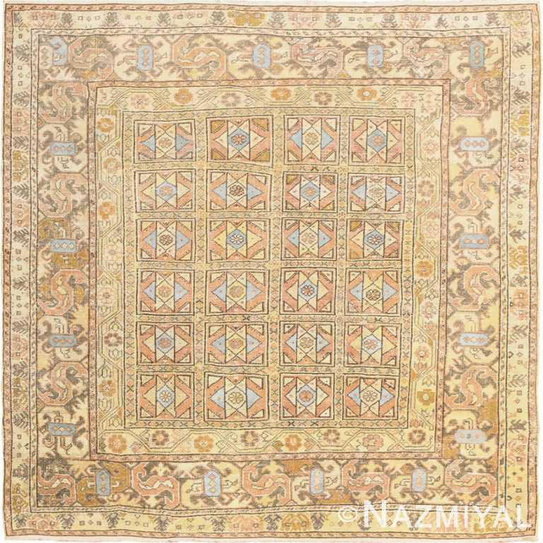 Square Size Antique Decorative Turkish Oushak Rug 50246 Nazmiyal Antique Rugs