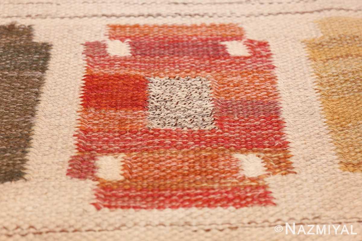 vintage ivory room size swedish kilim 48602 texture Nazmiyal
