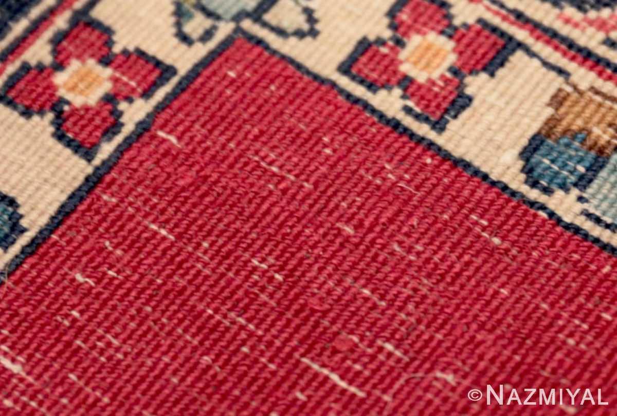 Weave detail Vintage Persian floral Kerman red runner rug 50349 by Nazmiyal