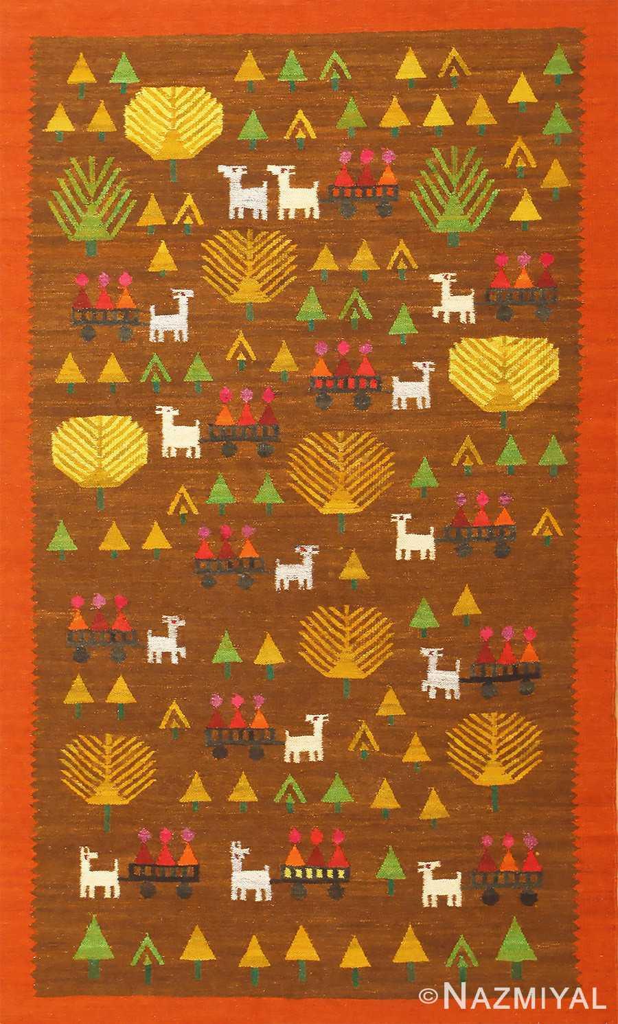 Whimsical Vintage Swedish Kilim Folk Art Rug 48596 Nazmiyal
