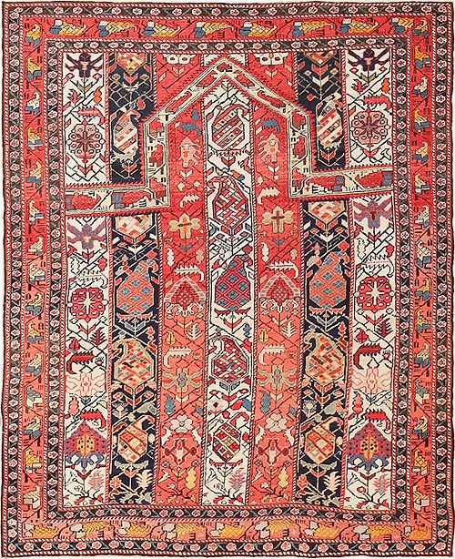 antique tribal Caucasian Islamic Prayer Rugs. Nazmiyal Antique Carpets