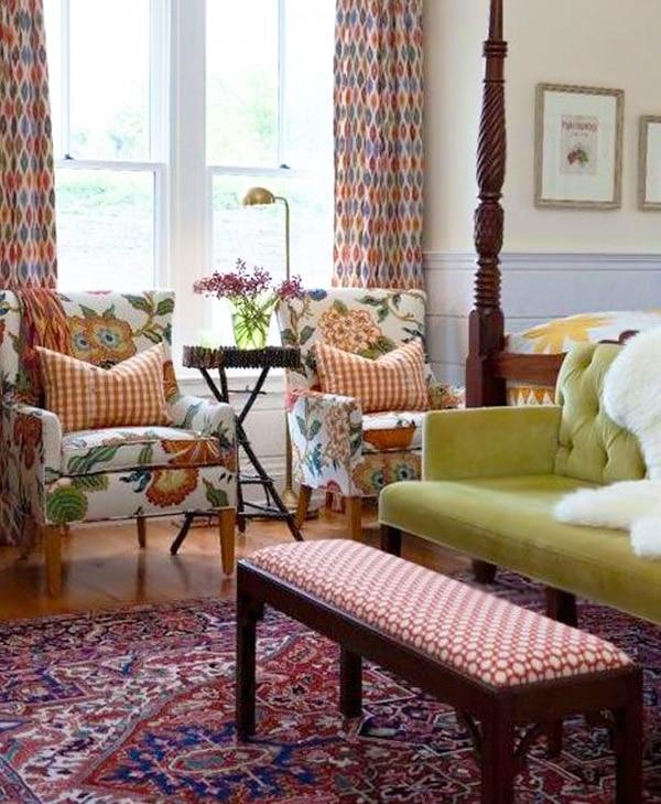 Bedroom interior Design With Persian Heriz Oriental Rug by Nazmiyal
