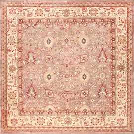 Large Square Antique Indian Agra Rug 46911 Nazmiyal