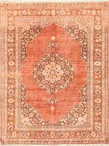 Orange Antique Persian Tabriz Rug 50362 Nazmiyal