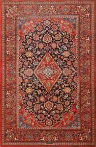 Vivid Antique Persian Kashan Rug 50413 Nazmiyal
