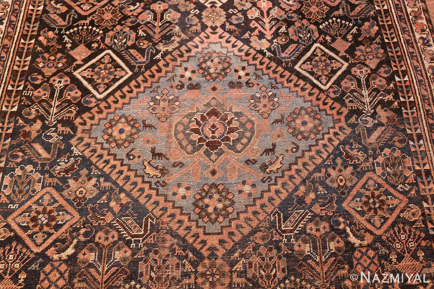 antique persian qashqai gallery size rug 50392 middle Nazmiyal
