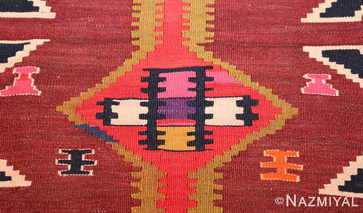 antique tribal caucasian kuba kilim rug 50421 brown Nazmiyal