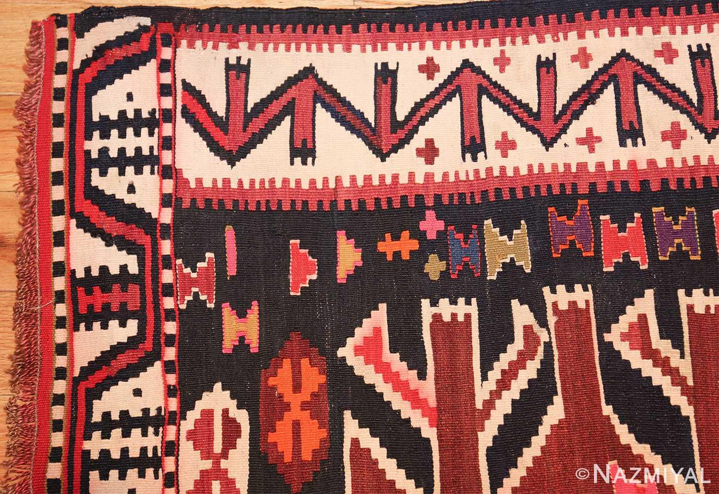 antique tribal caucasian kuba kilim rug 50421 corner Nazmiyal
