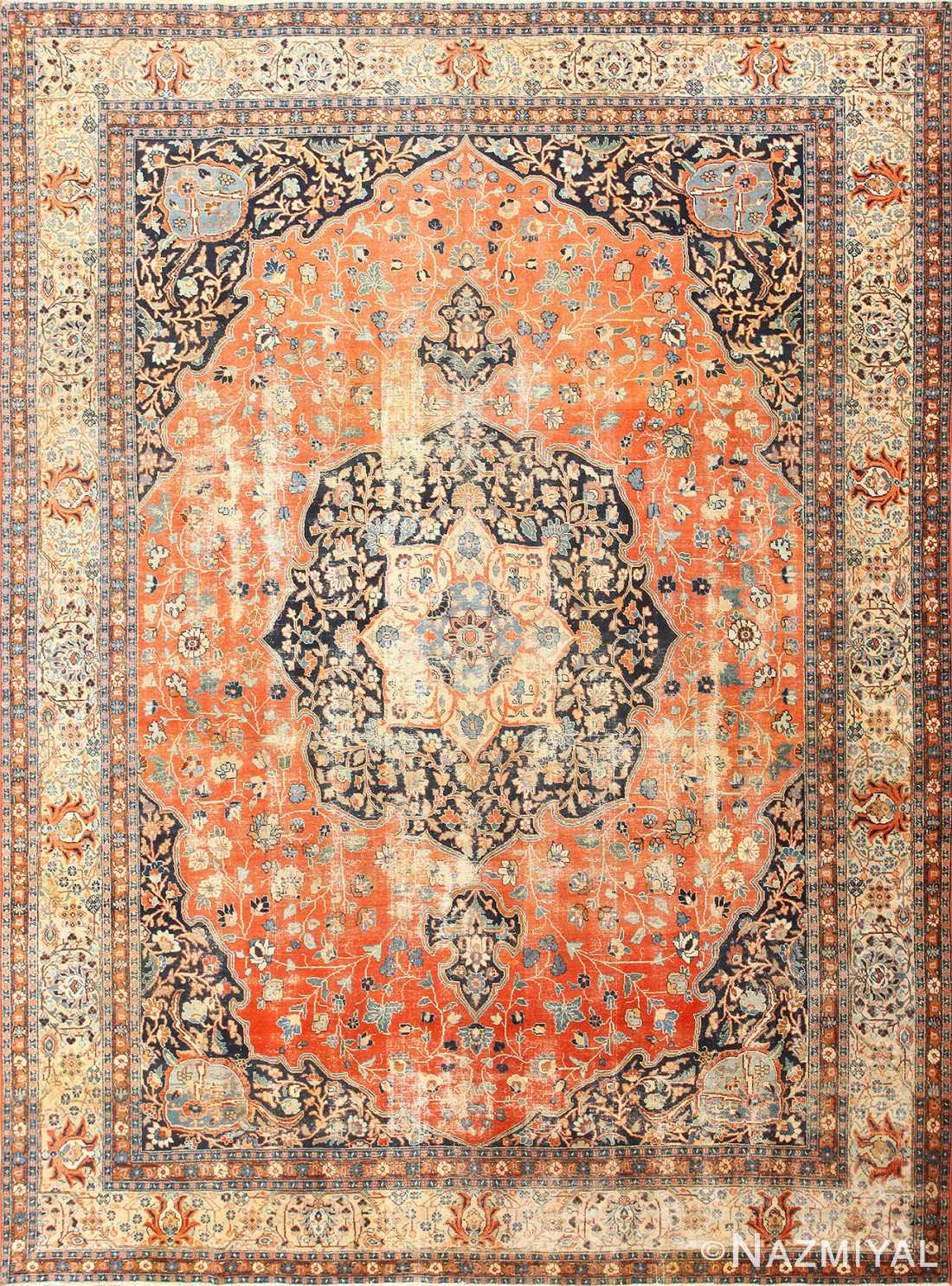 Beautiful Antique Persian Tabriz Rug 47294 Nazmiyal