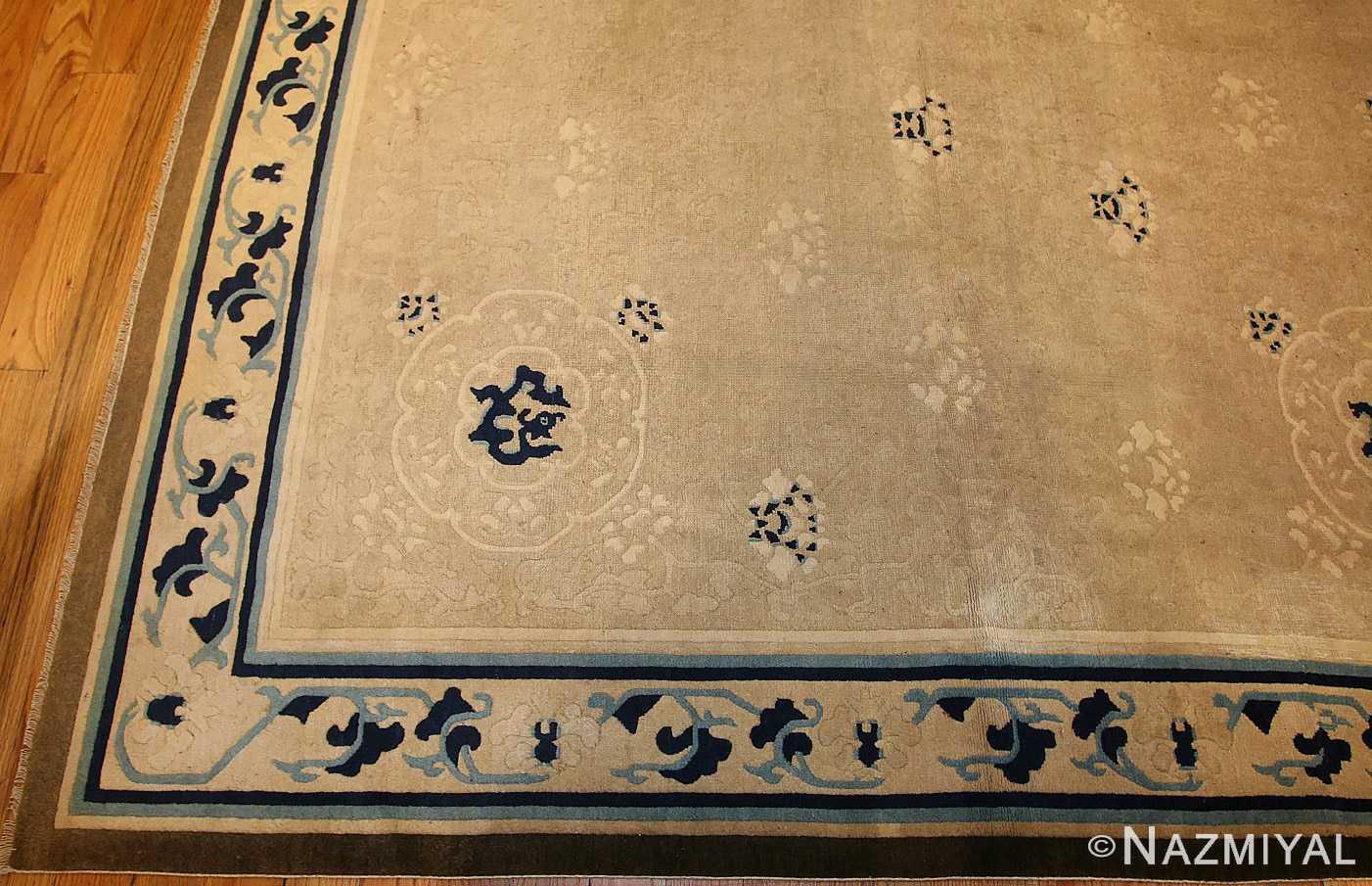 beautiful large size antique ivory chinese rug 50252 border Nazmiyal