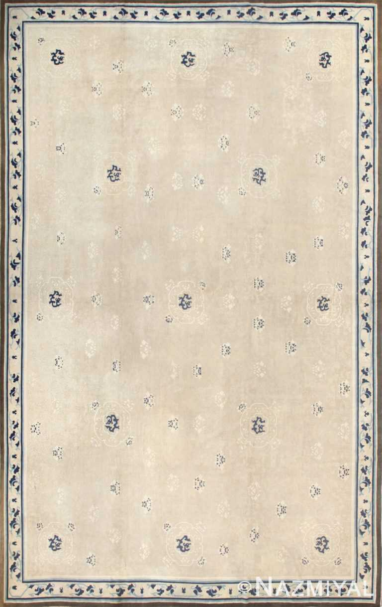 Beautiful Large Size Antique Ivory Chinese Rug 50252 Nazmiyal