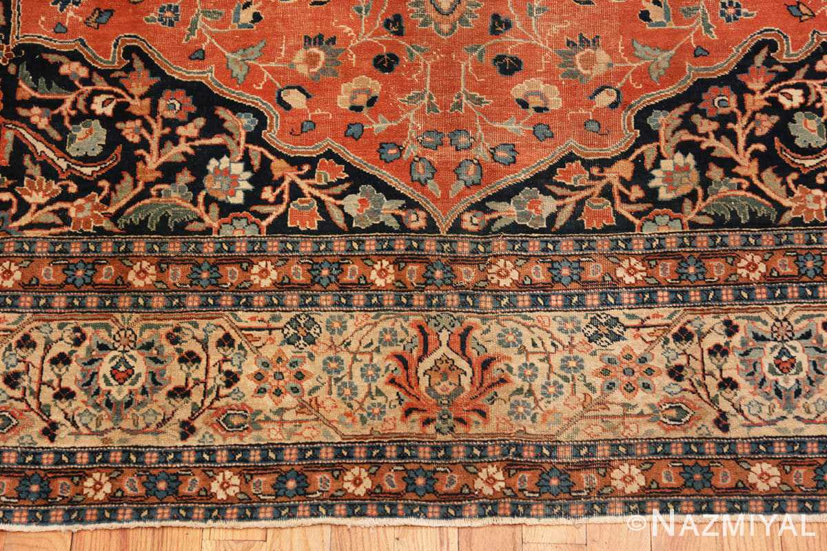 Border Beautiful Shabby chic Antique Persian Tabriz rug 47294 by Nazmiyal