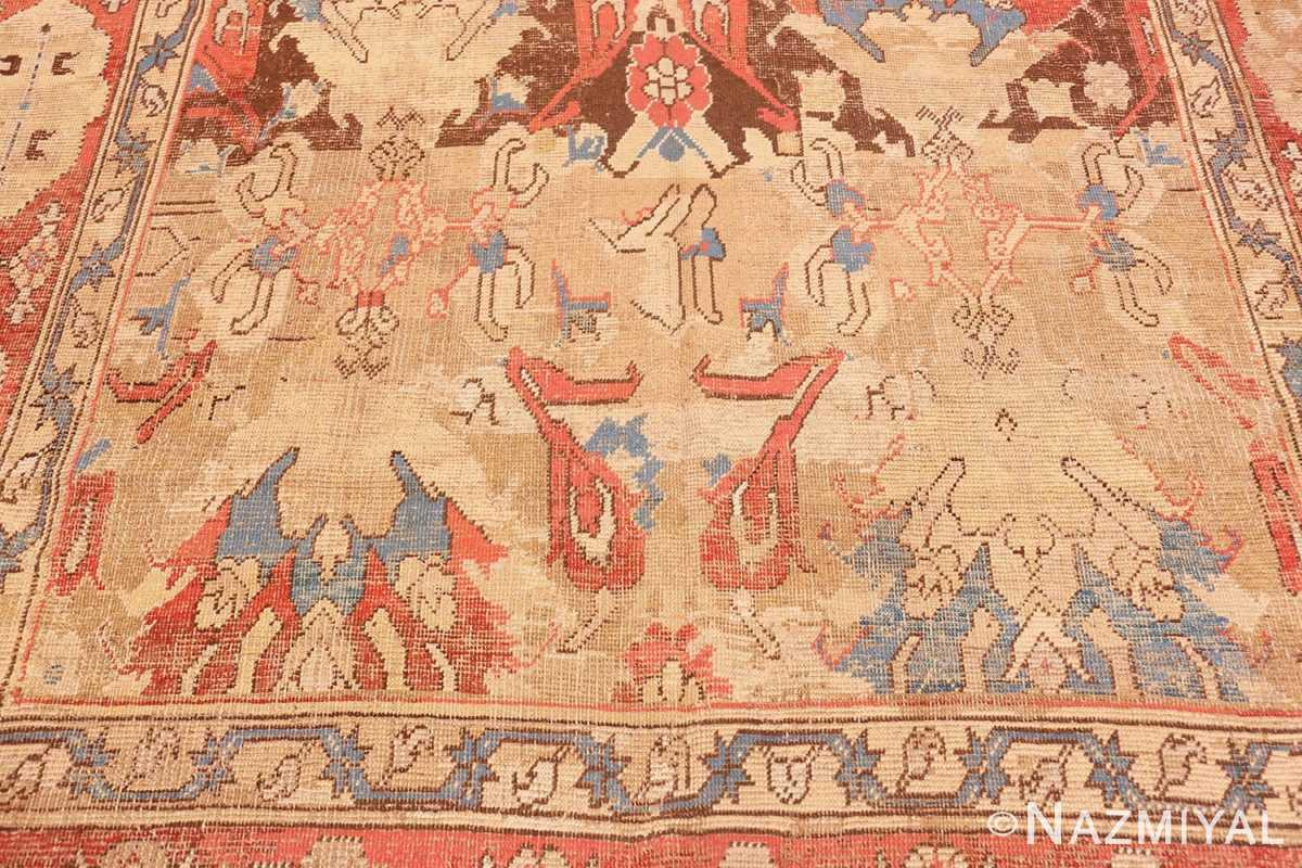 Close-up Antique 17th Century Smyrna Turkish Oushak rug 48663 by Nazmiyal