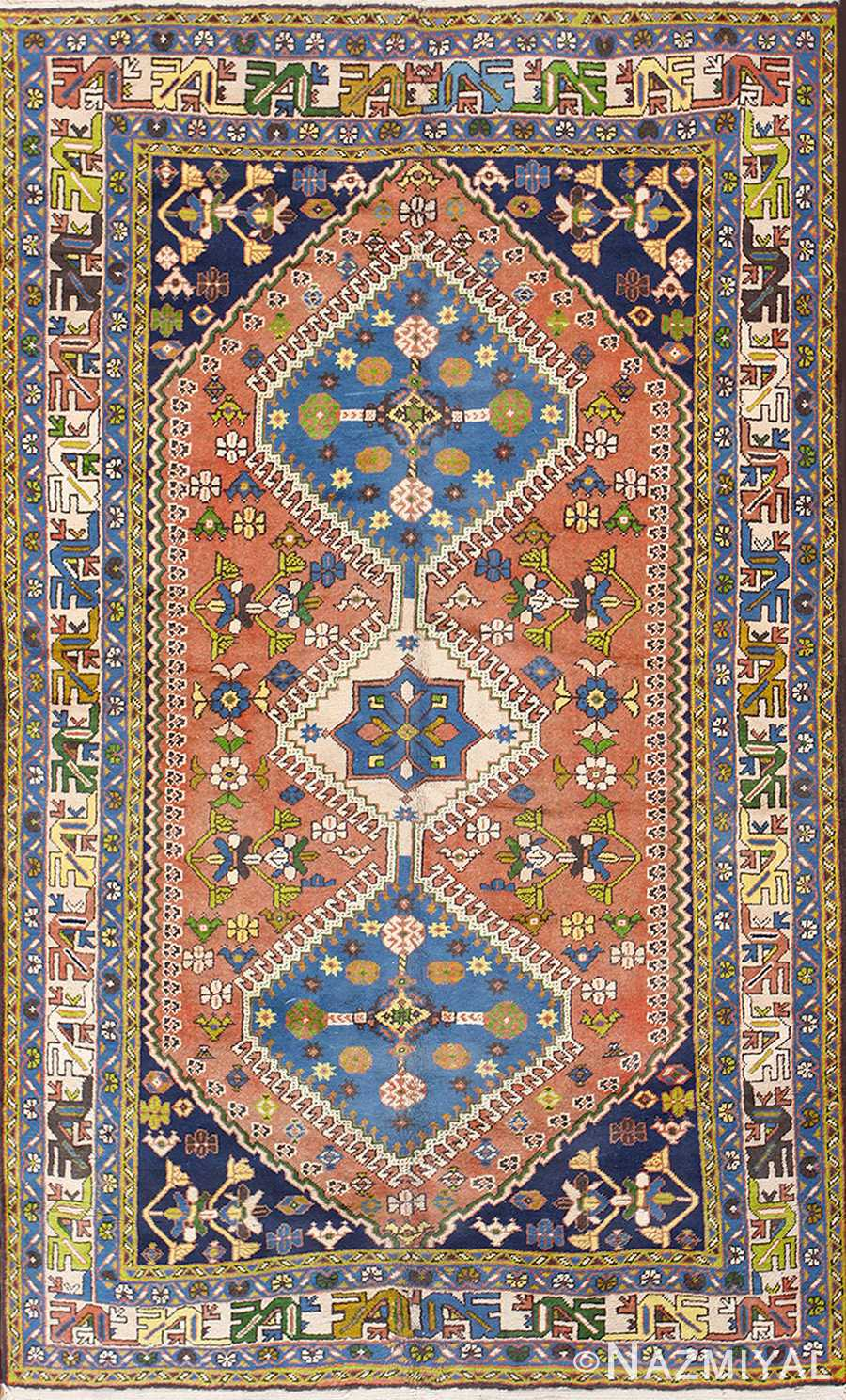 Colorful Semi Antique Persian Kurdish Rug 50432 Nazmiyal