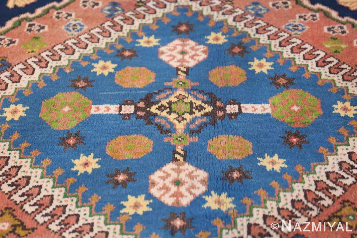 Colorful Vintage Persian Kurdish Rug 50432 Blue Medallion Nazmiyal