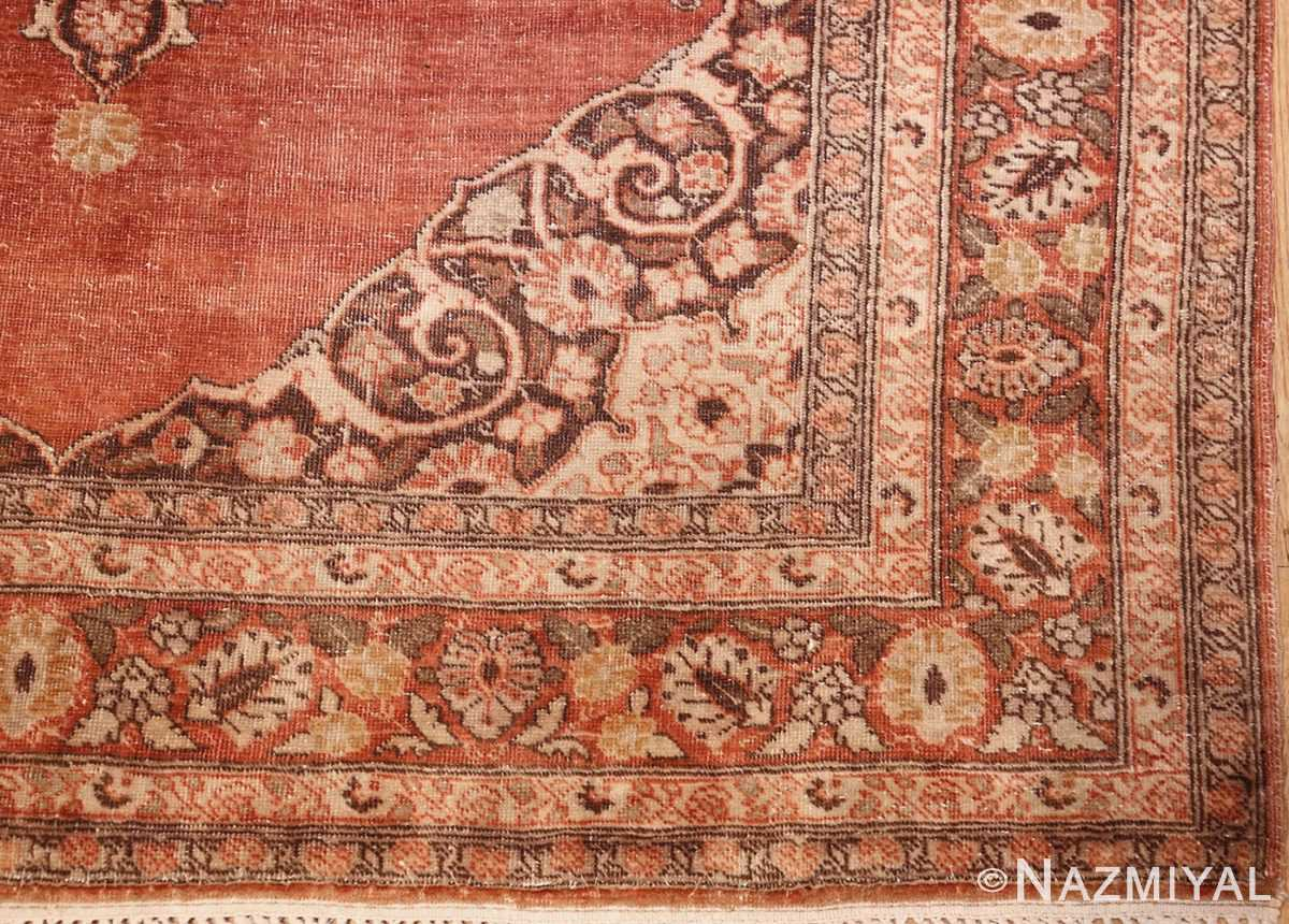 coral antique persian tabriz rug 50362 corner Nazmiyal