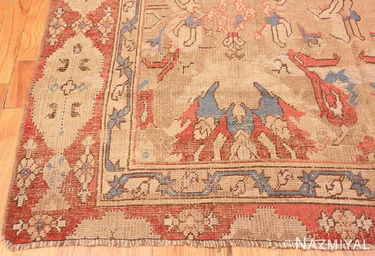 Corner Antique 17th Century Smyrna Turkish Oushak rug 48663 by Nazmiyal