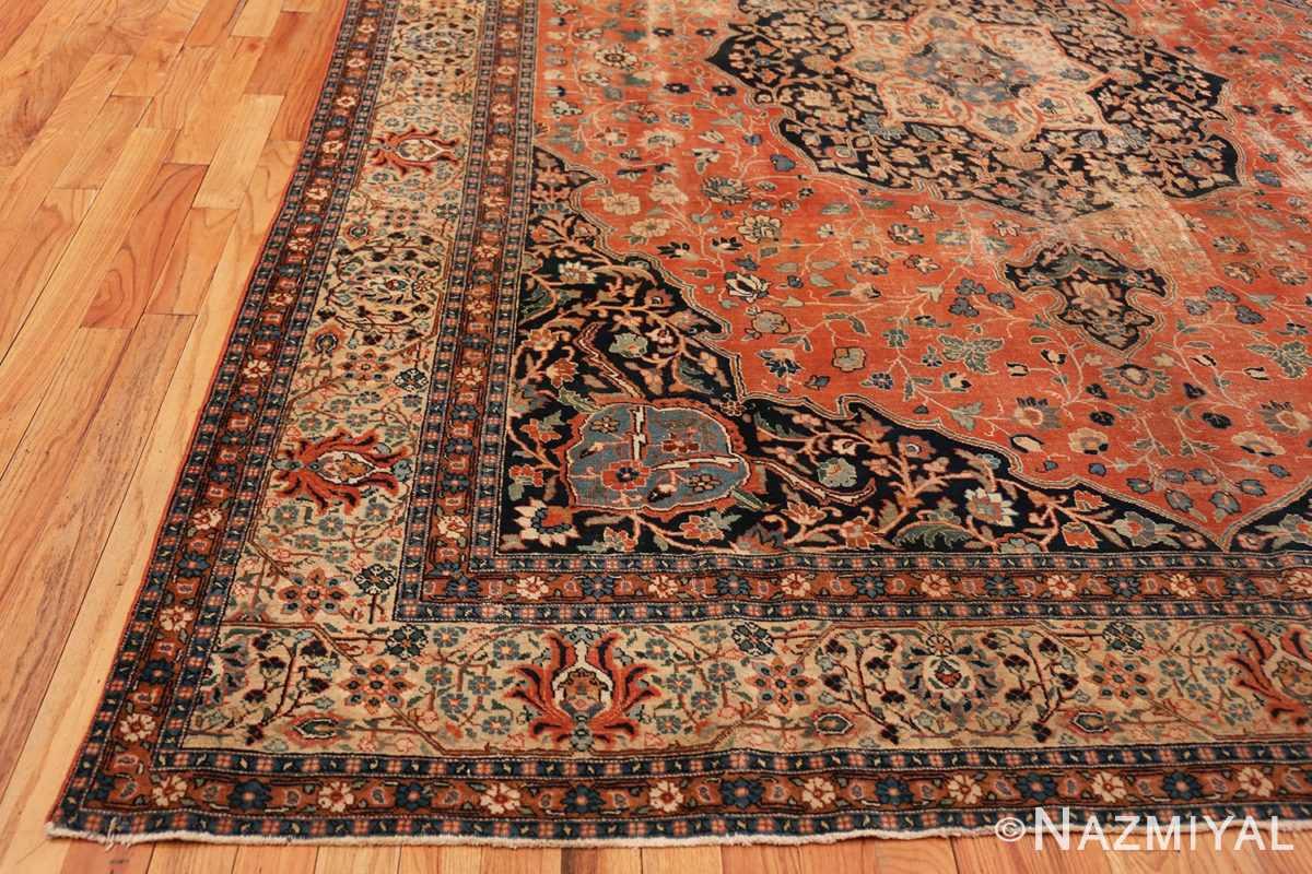 Corner Beautiful Shabby chic Antique Persian Tabriz rug 47294 by Nazmiyal