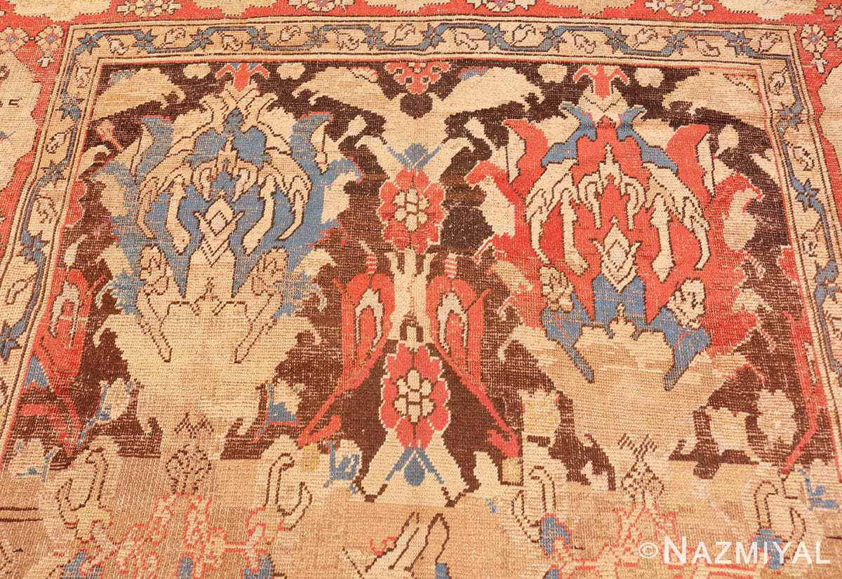 Detail Antique 17th Century Smyrna Turkish Oushak rug 48663 by Nazmiyal