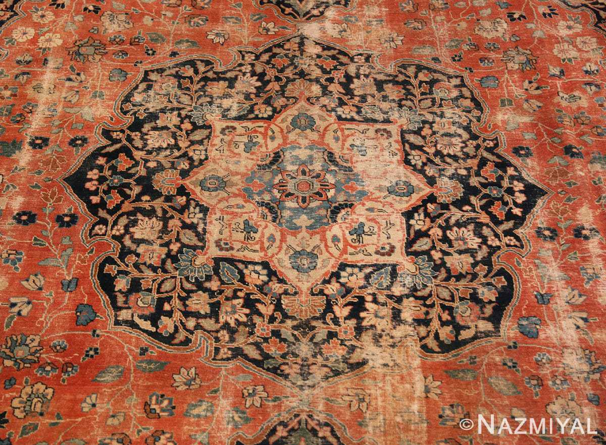 Center detail Beautiful Shabby chic Antique Persian Tabriz rug 47294 by Nazmiyal