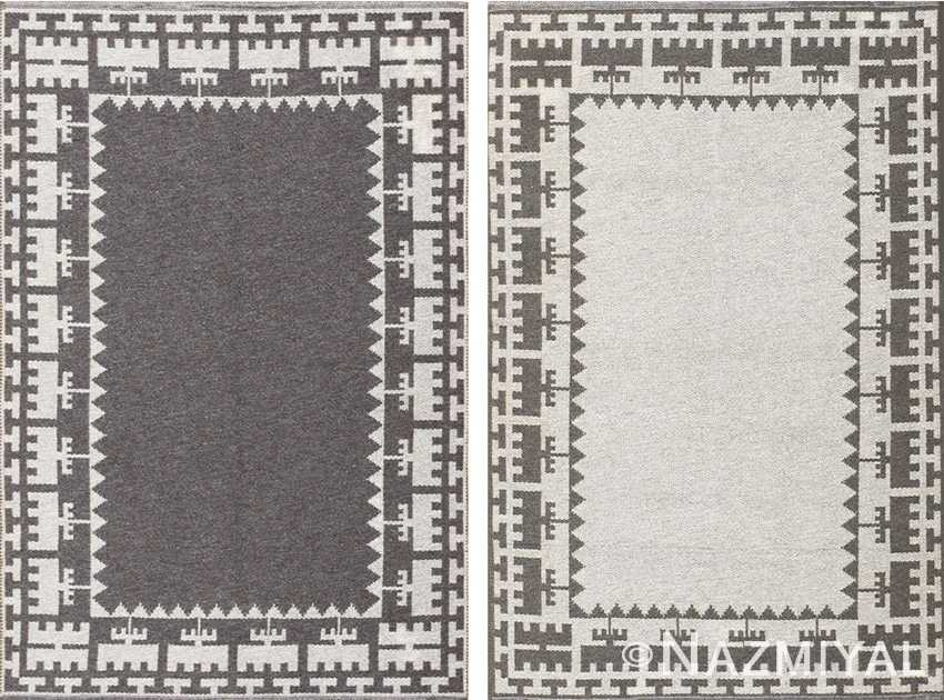 Semi Antique Scandinavian Swedish Kilim 48606 Nazmiyal