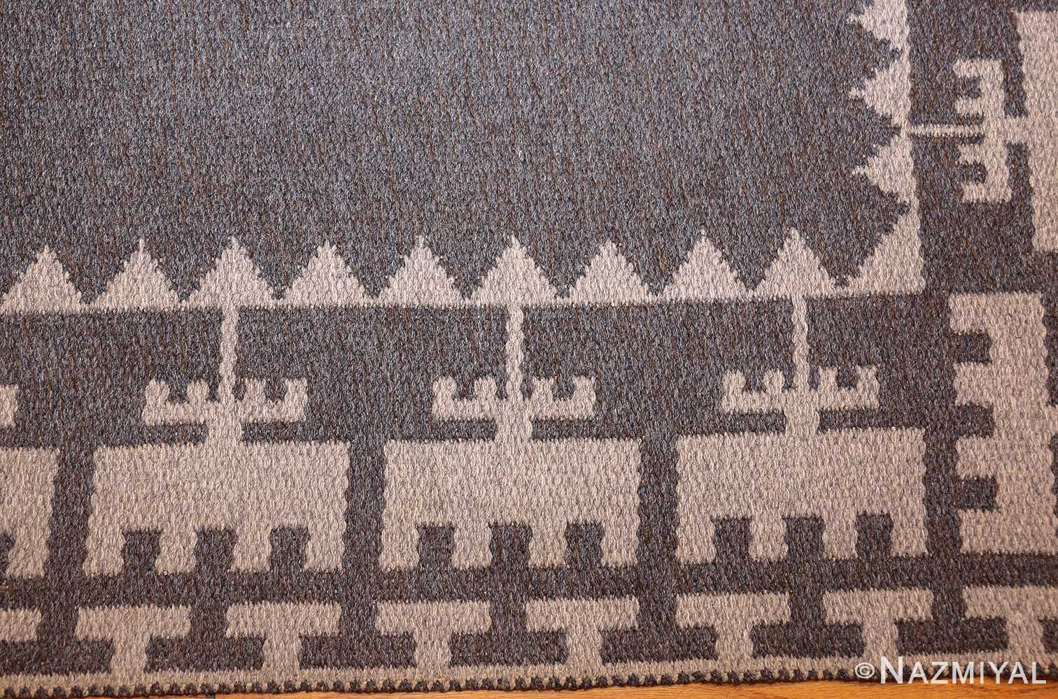 double sided vintage mid century scandinavian swedish kilim 48606 border Nazmiyal
