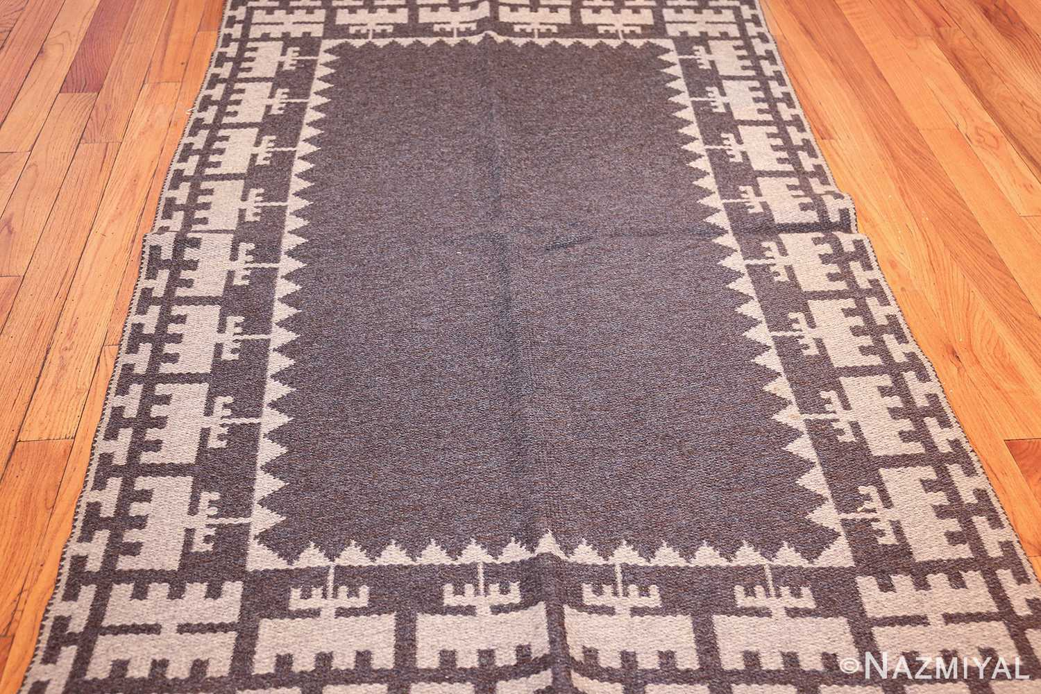 double sided vintage mid century scandinavian swedish kilim 48606 dark full side Nazmiyal