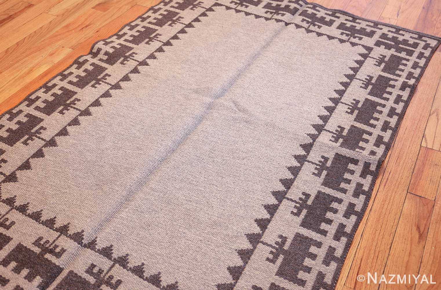 double sided vintage mid century scandinavian swedish kilim 48606 light side Nazmiyal