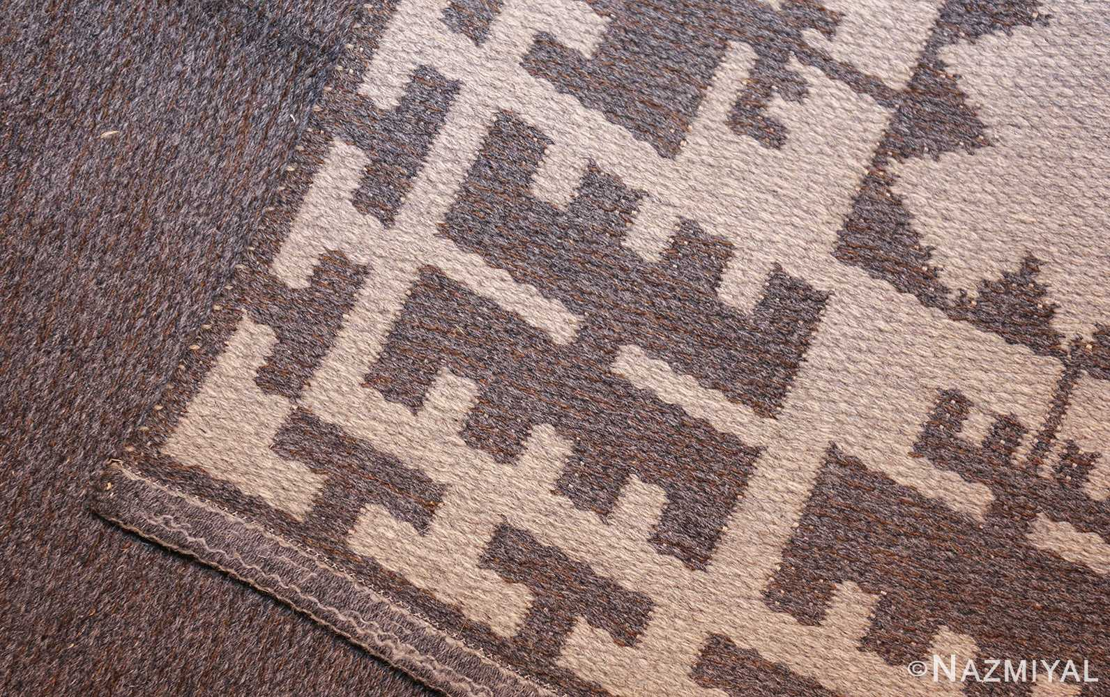 double sided vintage mid century scandinavian swedish kilim 48606 weave side Nazmiyal