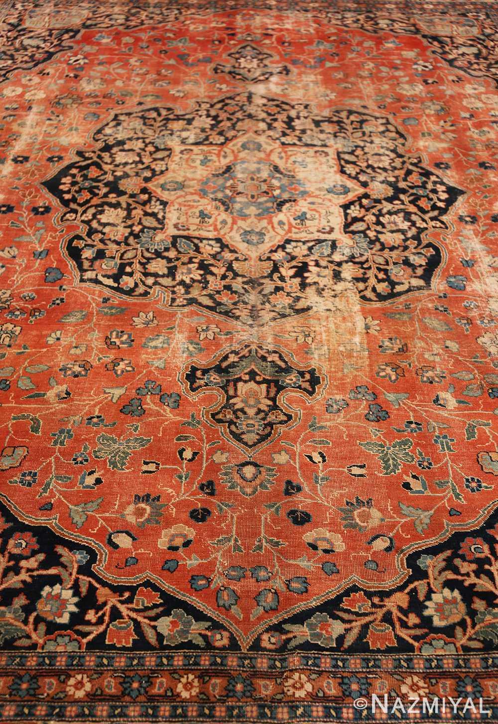 Field Beautiful Shabby chic Antique Persian Tabriz rug 47294 by Nazmiyal