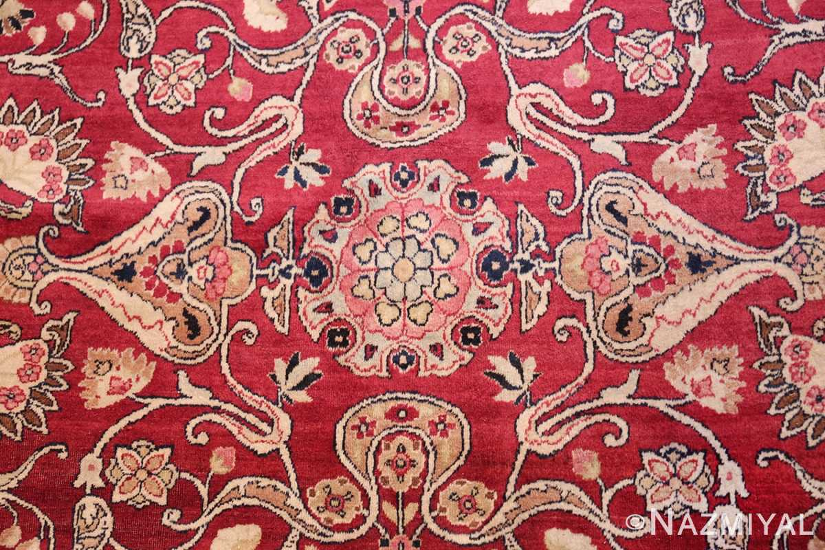 fine red antique floral kerman rug 50370 closeup Nazmiyal