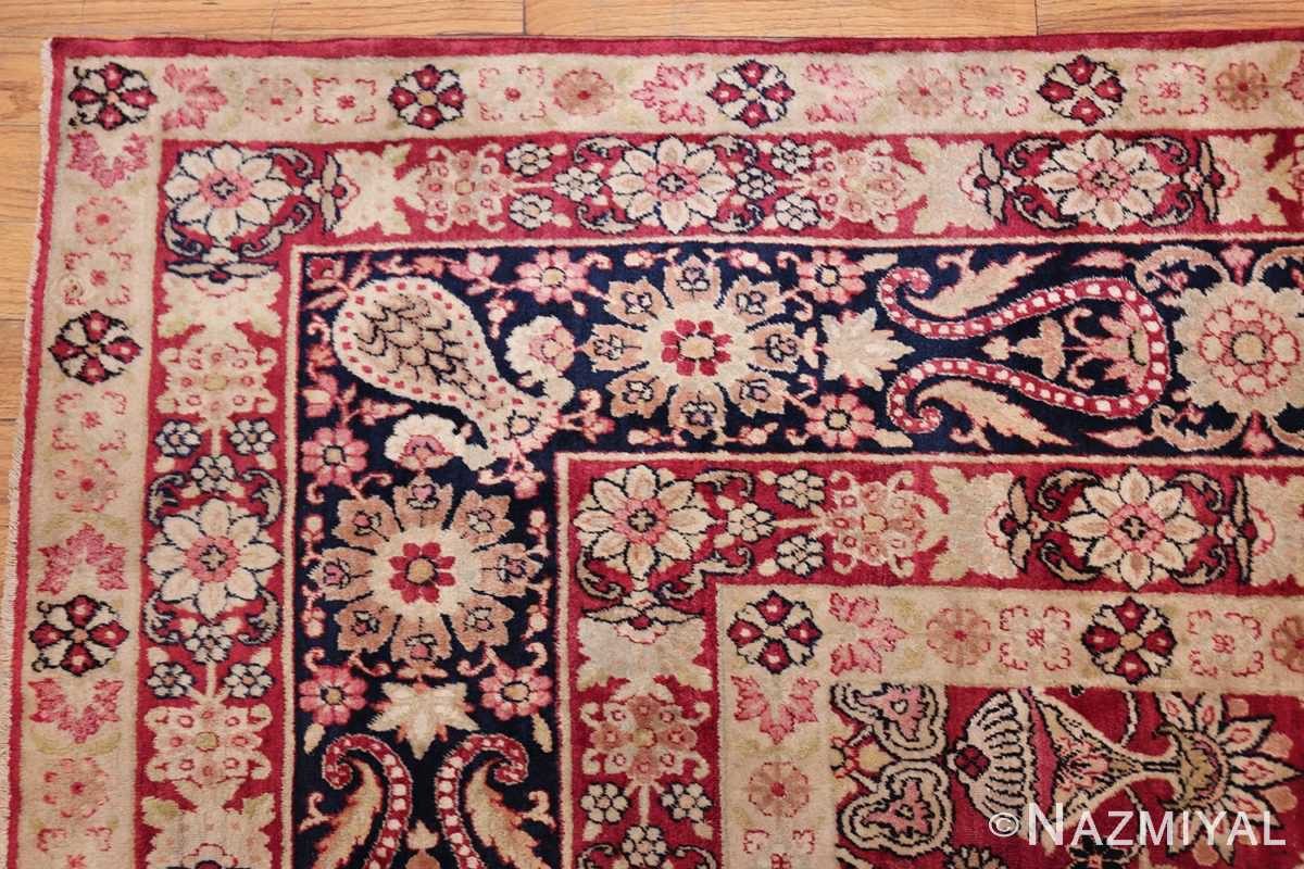 fine red antique floral kerman rug 50370 corner Nazmiyal
